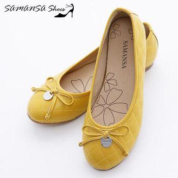 莎曼莎手工鞋【MIT全真皮】金屬Logo 蝶飾 菱紋娃娃鞋 -#14201 亮麗黃