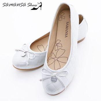 莎曼莎手工鞋【MIT全真皮】金屬Logo 蝶飾 菱紋娃娃鞋-#14201 靚亮銀