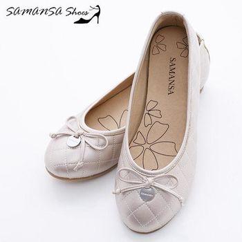 莎曼莎手工鞋【MIT全真皮】金屬Logo 蝶飾 菱紋娃娃鞋-#14201 香檳金