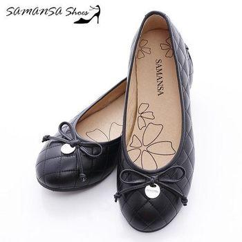 莎曼莎手工鞋【MIT全真皮】金屬Logo 蝶飾 菱紋娃娃鞋-#14201 經典黑