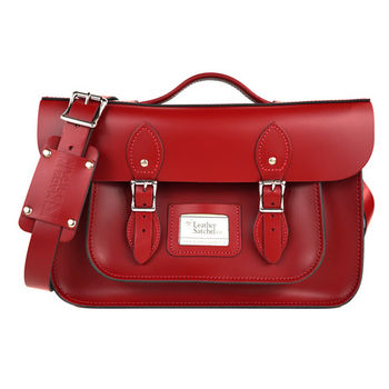 【The Leather Satchel Co.】14吋 英國手工牛皮可手提劍橋包 (心機紅)