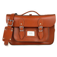 【The Leather Satchel Co.】14吋 英國手工牛皮可手提劍橋包 (倫敦棕)