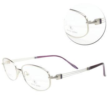 【ROYAL QUEEN 蘿亞皇后】優雅鈦金屬橢圓全框紫色光學眼鏡(RQ-332T-COL22)