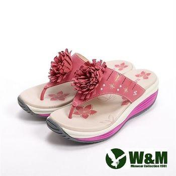 【W&M】FIT 2016新款鑽飾花造型健走族健塑鞋拖鞋女鞋-桃
