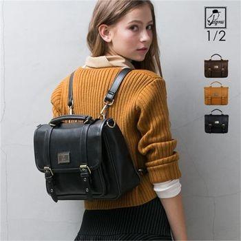後背包1/2princess升級版復古皮革雙扣三用包側背包 後背包 手提包(3色)