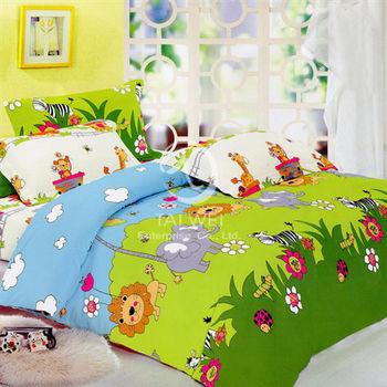 【卡莎蘭】森林王國 加大全舖棉四件式兩用被床包組