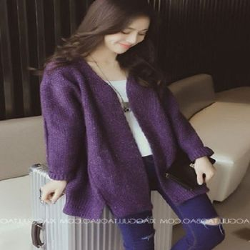 [協賀]韓版寬鬆中長款針織開衫V領毛衣