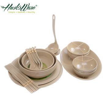 【美國Husks ware】稻殼天然無毒環保碗盤餐具18件組