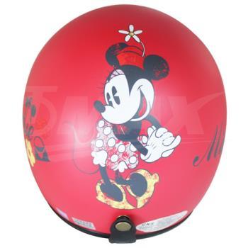 米妮半罩式機車安全帽-消光紅+抗uv短鏡片+6入安全帽內襯套