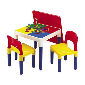 《孩子國》方形積木桌椅組~送網袋及100顆小積木哦!!