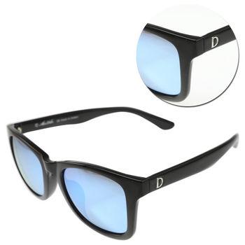 【ALAIN DELON 亞蘭德倫】偏光水銀藍色亮黑太陽眼鏡(AD20337S-B1)