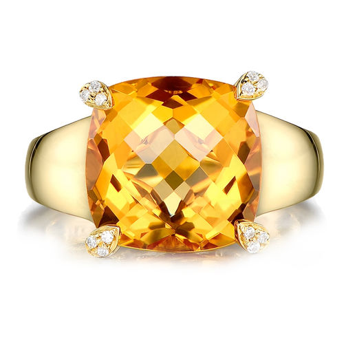 MAYMOON  簡約時尚-天然黃水晶6.00ct戒指(18K)