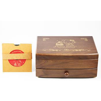 【Hello Kitty】三麗鷗授權胡桃木 音樂盒 收納盒