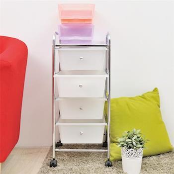 【ikloo宜酷屋】可移式四層白色抽屜收納箱/收納盒