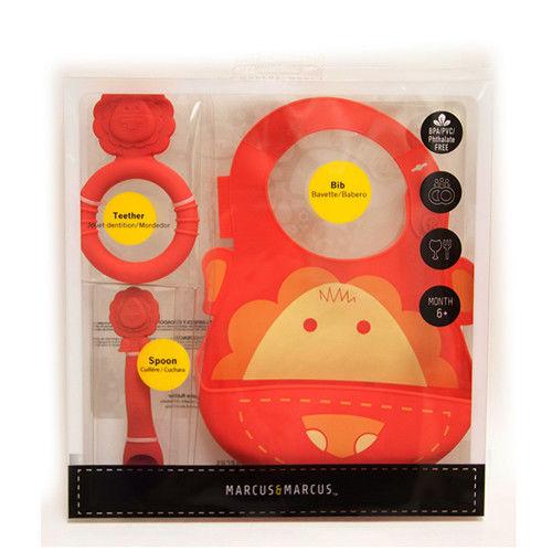 【MARCUS&MARCUS】動物樂園矽膠哺育禮盒組-獅子