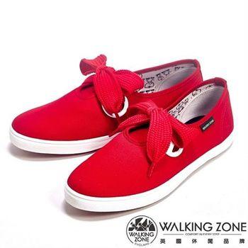 【WALKING ZONE】蝴蝶結綁帶平底純棉帆布休閒女鞋-紅