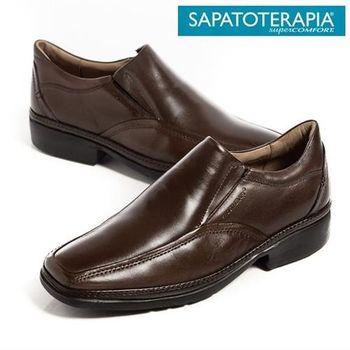 SAPATOTERAPIA 巴西超輕量直套皮鞋-咖