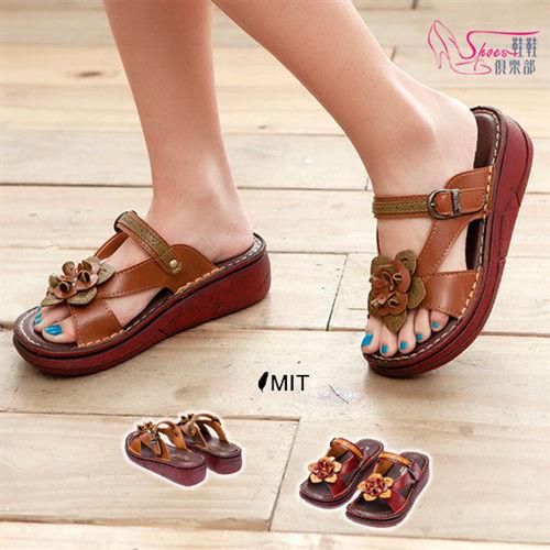 【ShoesClub】【052-687】台灣製MIT 經典花樣寬楦舒適厚底楔型拖鞋.2色 棕/紅