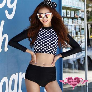 天使霓裳 水母衣 復古風長袖短版高腰衣褲組(黑白M~XL)-SY00107