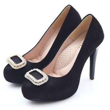 G.Ms. MIT花嫁系列-羊皮水鑽方釦厚底高跟鞋-黑/粉-行動