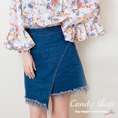 Candy小舖 素面剪裁設計百搭牛仔短裙 - 藍色