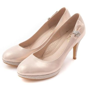 G.Ms. MIT花嫁系列-閃耀金蔥羊皮鑽飾高跟鞋-幸福粉-行動