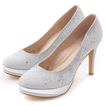 G.Ms. MIT花嫁系列-閃亮銀絲網布水鑽高跟鞋-夢幻銀-行動