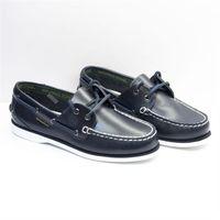 【WALKING ZONE】英倫 真皮手工車縫帆船鞋(深藍)