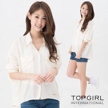 TOP GIRL 胸前口袋造型襯衫-米白色