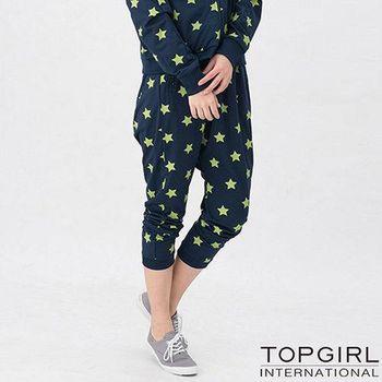 TOP GIRL 星勢力女孩飛鼠九分褲-星空藍