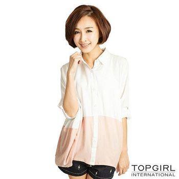 TOP GIRL 雙色造型襯衫-粉嫩白