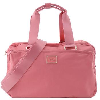 agnes b. VOYAGE雙槓金屬LOGO尼龍旅行袋(小/粉)