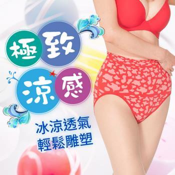 【JS嚴選】台灣製性感豹紋涼感紗中腰無縫三角褲(三件中腰豹紋褲+巴洛克褲*2)