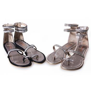 TTSNAP-MIT真皮水鑽繫帶楔型平底涼鞋(黑/金)