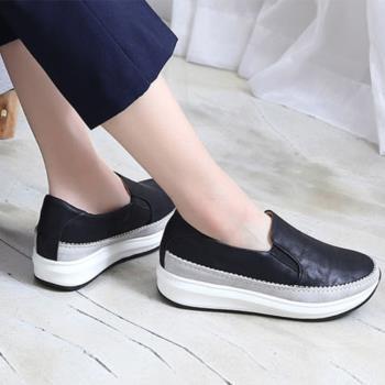 ALMANDO-SHOES★正韓增高鬆糕鞋休閒運動鞋★ 韓國空運 皮革厚底鞋
