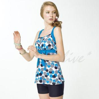 【梅林品牌】俏麗亮眼款繽紛幾何圓時尚二件式泳裝NO.M5462(現貨+預購)