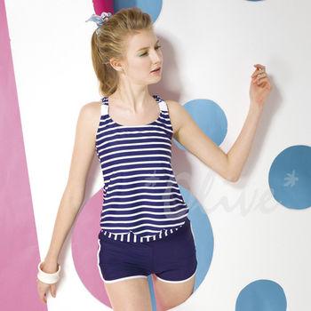 【梅林品牌】簡約休閒款亮眼條紋時尚二件式泳裝NO.M5464(現貨+預購)