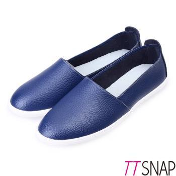 TTSNAP樂福鞋-MIT全真皮韓系懶人休閒鞋-深海藍-行動
