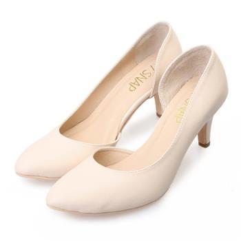 TTSNAP 高跟鞋-MIT側鏤空小尖頭真皮跟鞋-氣質米-行動