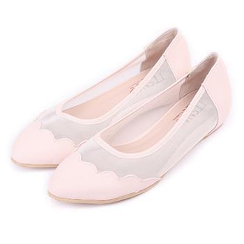 TTSNAP尖頭鞋-MIT花瓣透膚網紗內增高平底鞋-氣質粉-行動