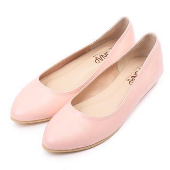 TTSNAP尖頭鞋-MIT素面羊紋內增高真皮平底鞋-氣質粉-行動