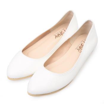 TTSNAP尖頭鞋-MIT素面羊紋內增高真皮平底鞋-經典白-行動