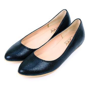 TTSNAP尖頭鞋-MIT時尚金屬爆裂紋內增高真皮平底鞋-優雅藍-行動