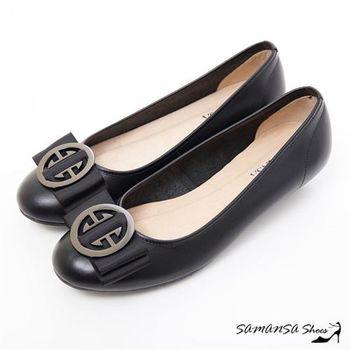 莎曼莎手工鞋【MIT全真皮】氣質滿分-大圓釦牛皮通勤百搭低跟鞋-#15106 經典黑