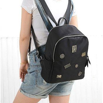 【Acorn*橡果】韓版復古徽章牛津布防水後背包6542(黑色)