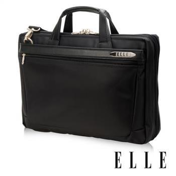 【ELLE HOMME】紳士皮革公事包IPAD14吋筆電置物層側背手提兩用-大(黑EL74165A-02)