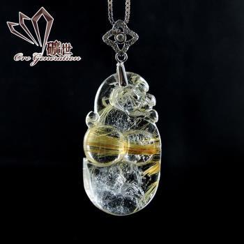 【礦世】招財貔貅鈦晶項鍊E473