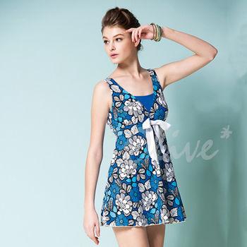 【蘋果牌】性感美胸花朵款式時尚連身裙泳裝NO.105438(現貨+預購)