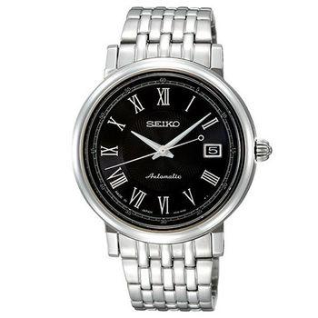 SEIKO Mechanical 4R35 經典羅馬日期機械腕錶(黑/40mm) 4R35-00C0D 國際碼:SRP121J1