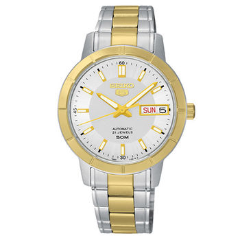 SEIKO 精工5號盾牌 大三針日曆機械時尚女錶-雙色版/34mm/7S26-04F0KS(SNK892J1)
